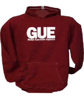 GUE Red Pullover Hooded Sweatshirt